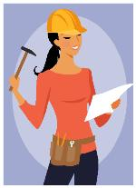 Lady with hammer and a plan