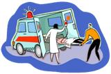 Picture loading patient into ambulance