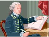 Colonial man completing legal document.