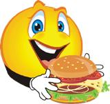 Cartoon smiley face eating an unhealthy burger.