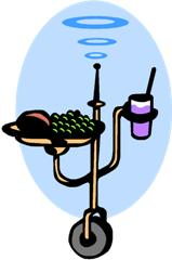 Cartoon of robot with food and drink.