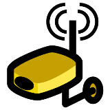 Illustration of a wireless camera for caregiving.