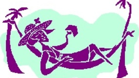 Lady caregiver relaxing in a hammock with a book.