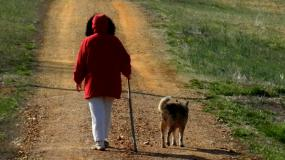 Lady walking with dog on dirt road.