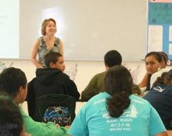 Maryann Makekau teaching youth