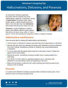 Alzheimer's Hallucinations delusions and paranoia Fact Sheet