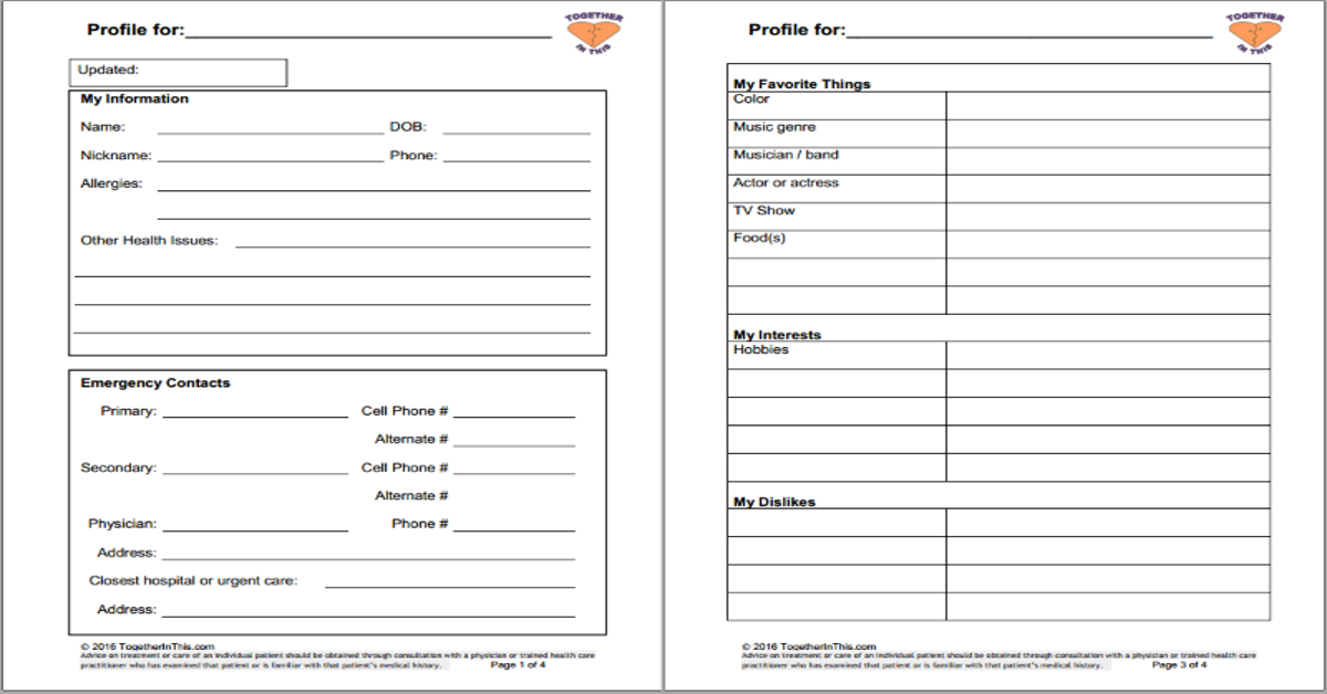 Person Centered Profile 2 on Grief Worksheet