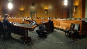 Seth Rogen speaking about the devastation of Alzheimer's disease before an empty Senate Committee