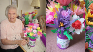 Mum with Alzheimer's making paper flowers