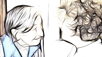 Abstract image of two people talking