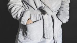 Person with dementia wearing a robe